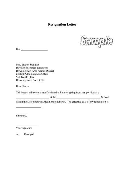 Resignation Letter For Pregnant Teacher - Sample Resignation Letter