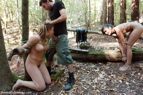 two babes get tied up dominated and fucked outdoor in the woods pichunter