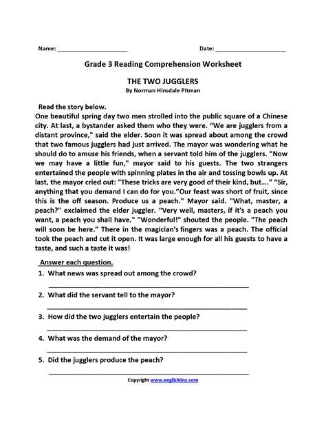 reading comprehension worksheets  grade newatvsinfo