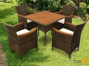 Polyrattan Gartenmoebel Set : gartenm bel set 5 teilig valencia polyrattan holz sessel 4er set tisch braun ebay ~ Markanthonyermac.com Haus und Dekorationen