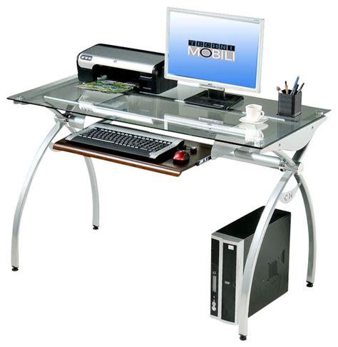 tempered glass top computer desk techni mobili glass top computer desk in clear modern