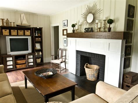 diy fireplace update with built in shelves on each storage with decorative baskets hgtv