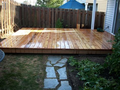 ground level cedar deck ground level cedar deck with