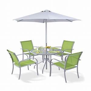 Ensemble Table De Jardin : ensemble terrasse table chaises et parasol achat vente salon de jardin alpina ensemble ~ Teatrodelosmanantiales.com Idées de Décoration