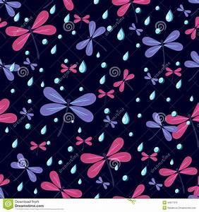 Seamless Pattern Dragonflies On A Dark Background Stock ...
