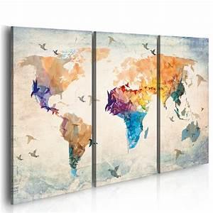 Carte Du Monde Deco Murale : grand format impression sur toile images 3 parties ~ Dailycaller-alerts.com Idées de Décoration
