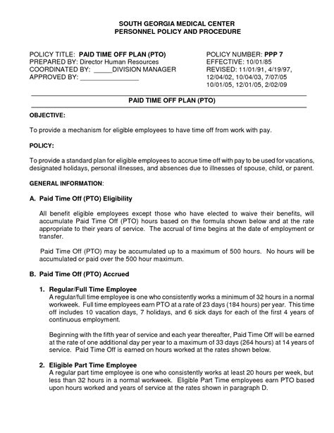 Time Off Request Policy Template by Best Photos Of Pto Bylaws Template Sle Bereavement