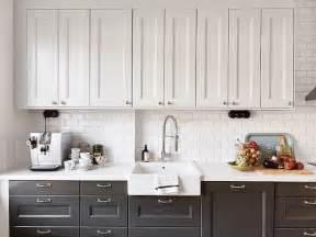 Dark Bottom Cabinets White Upper Cabinets white upper cabinets dark lower cabinets transitional
