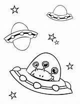 Alien Coloring Pages Printable Space Spaceship sketch template