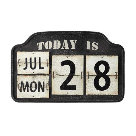 bureau ado fille calendrier perpétuel en métal noir et blanc l 44 cm trent