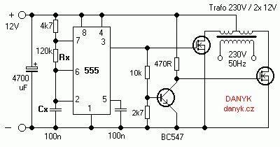 12v 230v 50hz square wave inverter with 555 diy dc ac inverter squares and waves