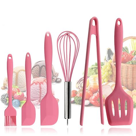 kitchen pink tools silicone kitchenware cookware utensils pieces baking sets cooking spatula clip friendly eco brush grade beater spoon egg