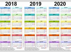 Three year calendars for 2018, 2019 & 2020 UK for Excel