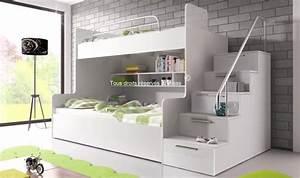 Lit Superposé Rangement : lit superpos avec escalier et rangements camille ~ Teatrodelosmanantiales.com Idées de Décoration