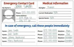 Emergency Contact Card Template