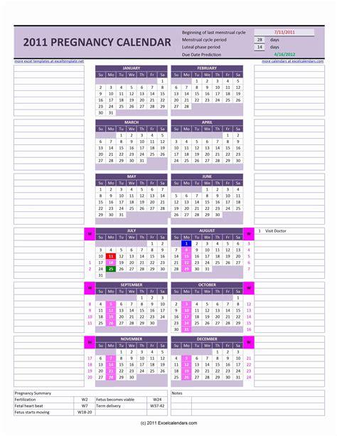 pregnancy calendar excel calendars