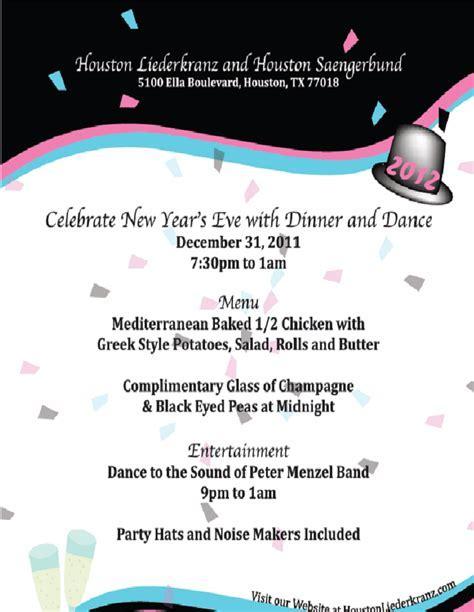 Liederkranz New Years Eve Flyer ? Houston Leipzig Sister