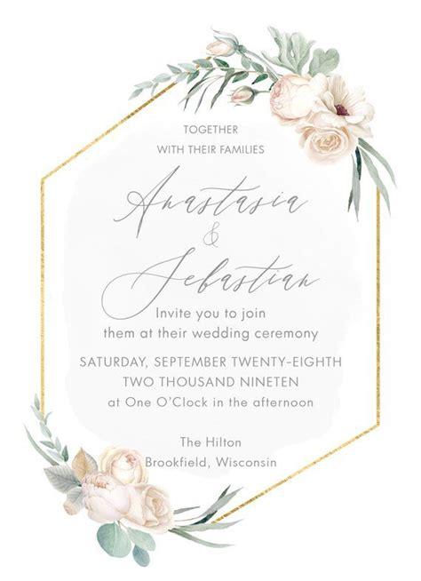 Gold Geometric Wedding Invitation Suite Modern Greenery