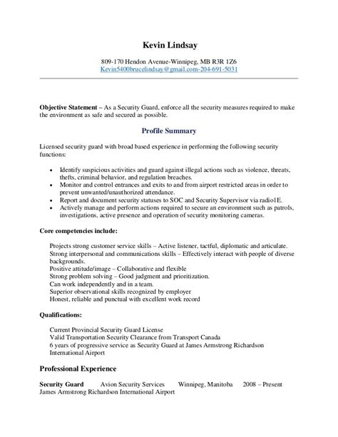 Resume For Security Guard by Kevin Lindsay Security Guard Resume 8