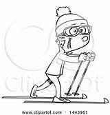 Skiing Cartoon Country Cross Boy Ski Clipart Slope Illustration Vector Template Lineart Royalty Sketch Coloring sketch template