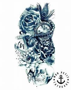 Dessin Tete De Mort Avec Rose : tatouage t te de mort ancre horloge rose composition r aliste mon petit tatouage temporaire ~ Melissatoandfro.com Idées de Décoration