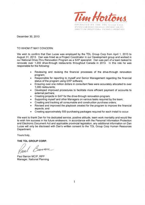 tim hortons letter  reference