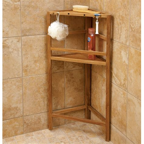 Teak Bath Shelf From The Corner Collection by Teak Shower Shelving From Sportys Preferred Living