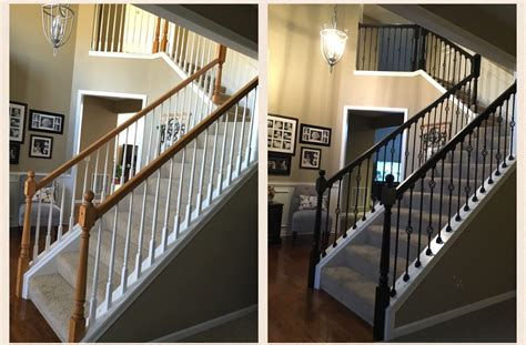 oak railings sanded  stained espresso white balusters