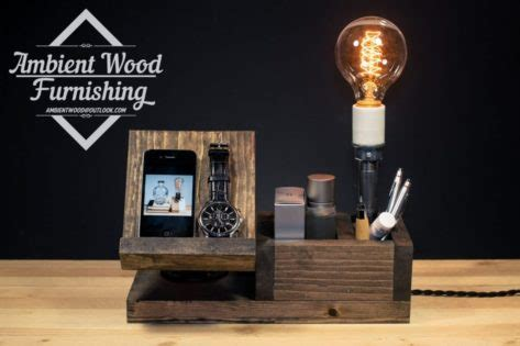 perfect gift wood docking station lamp  apple