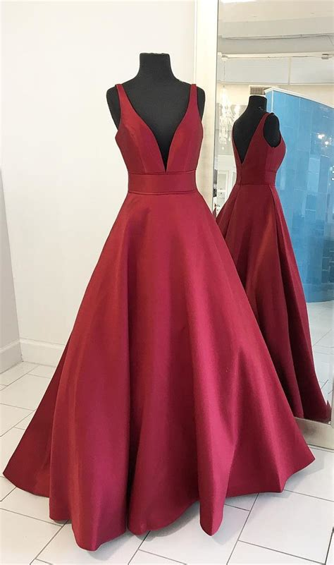 2017 red long prom dress, this rd color satin prom dress ...