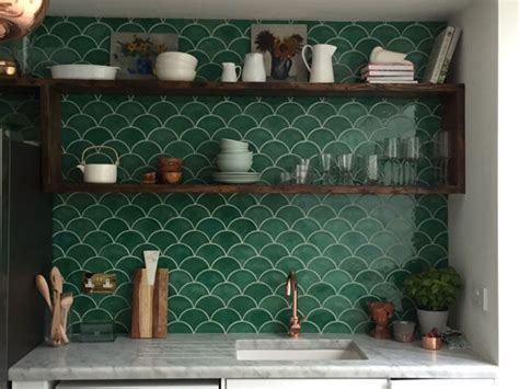 green tiles ideas  pinterest green kitchen
