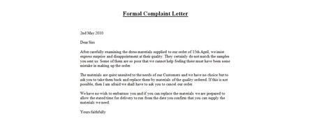 formal letter  complaint template ks formal letter