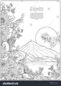 japanese landscape  mount fuji  tradition flowers