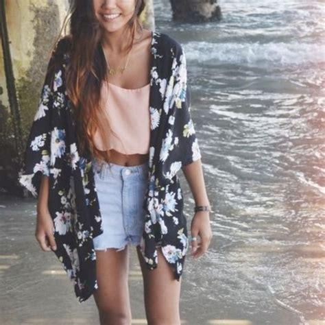 Coat kimono scalloped shirt high-wasted denim shorts summer beach tank top shorts ...