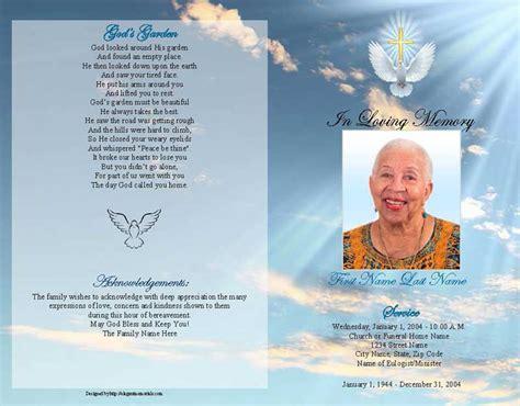 dove cross funeral program template graduated fold