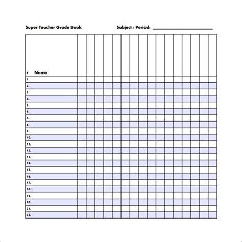 grade book template templates  printable