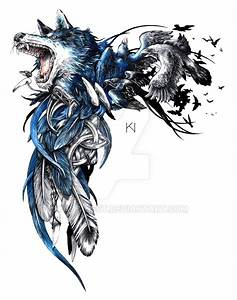 Wolf and raven tattoo design by Kaos-Nest on DeviantArt