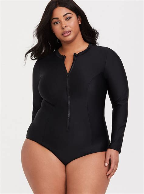 black long sleeve zip  piece swimsuit   clothes