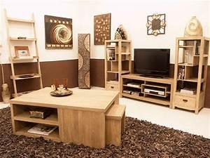 Meuble Tv Bois Massif Moderne : meuble tv moderne moka 3 plateaux 1 niche meubles bois massif ~ Teatrodelosmanantiales.com Idées de Décoration
