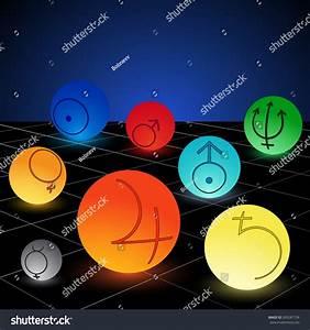 Planet Solar System Symbols Colored Vector Stock Vector ...