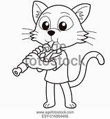 Oboe Coloring Getcolorings Playing Cat Cartoon sketch template