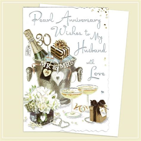 An anniversary is the date on which an event took place or an institution was founded in a previous year, and may also refer to the commemoration or celebration of that event. Husband On Our 30th Anniversary Card