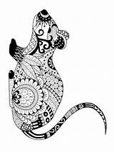 Coloring Pages Mouse Zentangle Adults Printable Adult Mycoloring Colors sketch template