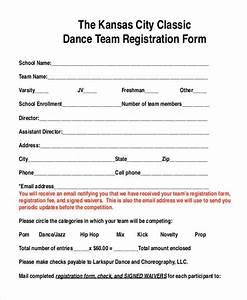 8 team registration form samples free sample example With dance school registration form template free