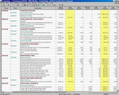estimating spreadsheet template db excelcom