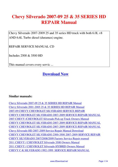 how to download repair manuals 2012 chevrolet silverado 3500 electronic toll collection chevy silverado 2007 09 25 35 series hd repair manual by giler kong issuu