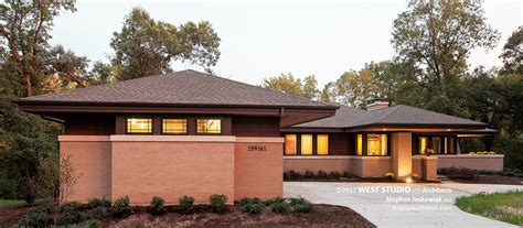 frank lloyd wright style home plans hillside house front exterior 2 prairiearchitect