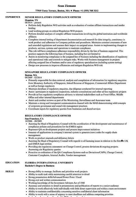 Compliance Officer Resume by Regulatory Compliance Officer Resume Sles Velvet