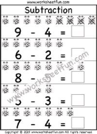 kindergarten subtraction  printable worksheets
