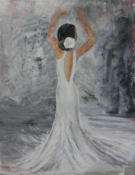 peinture a l acrylique sur toile tableau contemporain sc 232 ne de genre sur toile flamenco par joce peinture acrylique